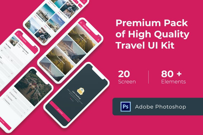 Cover Image For Premium Travel UI KIT for Photoshop