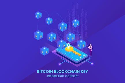 Bitcoin Blockchain Key - Insometric Vector