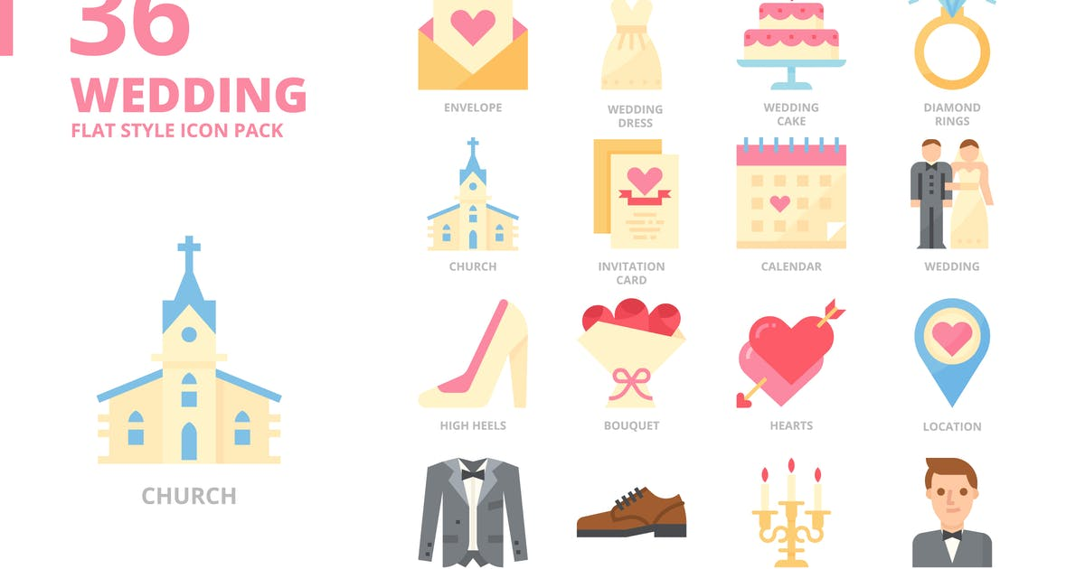 Download Wedding Flat Style Icon Set by monkik