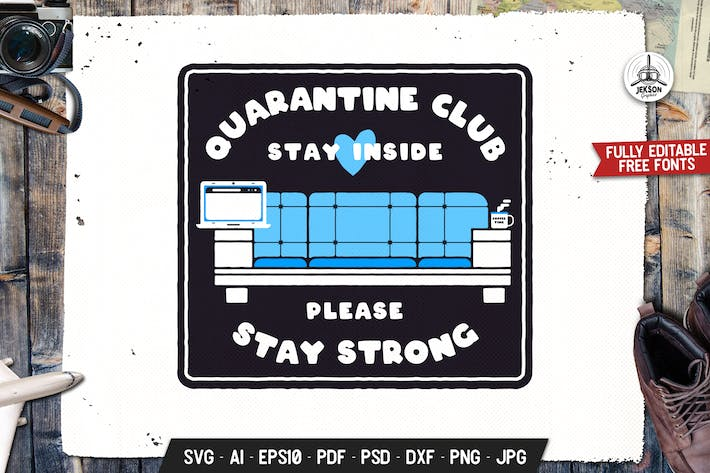 Thumbnail for Quarantine Club Stay Strong Retro Vektor Abzeichen