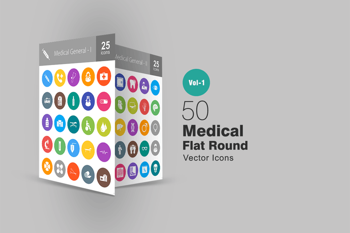Thumbnail for 50 Medical Flat Round Icons