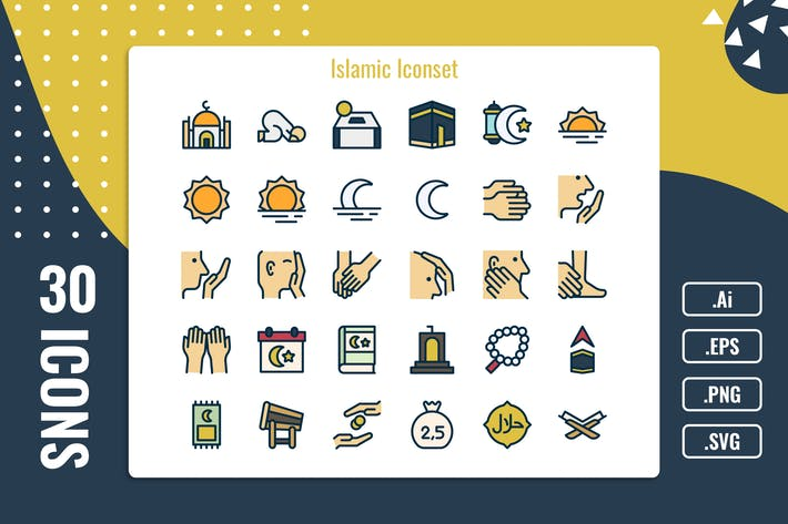 Thumbnail for 30 Iconset Islamic mit 5 Stilen Variante