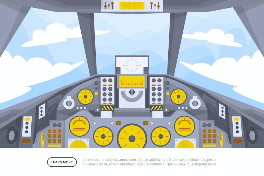 Fighter Jet Cockpit - Vector Illustration