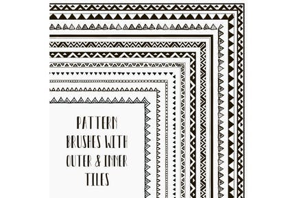 Vector pattern brushes. Hand-drawn Tribal Style.