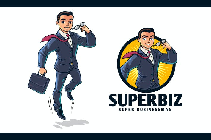 Thumbnail for Young Superhero Businessman Character Mascot Logo
