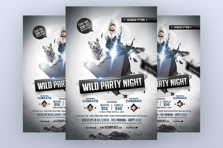 Thumbnail for Wild Party Night Flyer Template