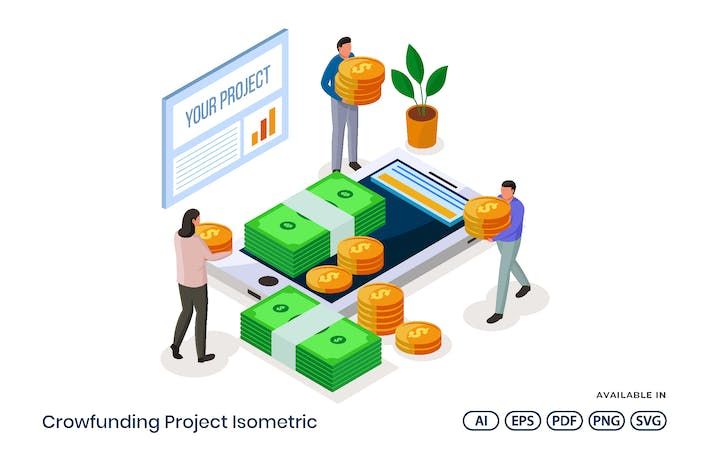 Thumbnail for Crowdfunding Project Isometric