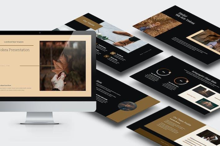 Yokea: коричневый цветной тон Lookbook Powerpoint