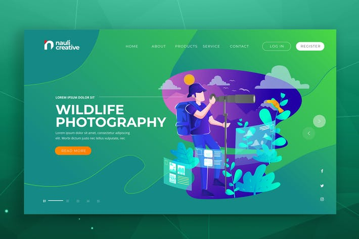 Thumbnail for Wildlife Photography Web PSD and AI Vector