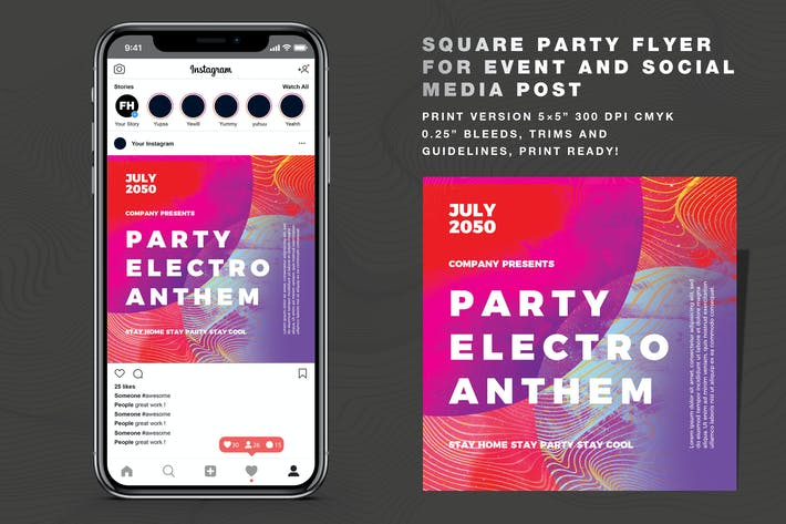 Thumbnail for Abstract Party Vol 03 dépliant Et Social Media Post