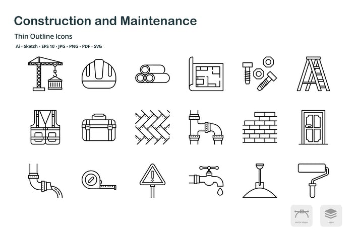 Thumbnail for Construction and maintenance thin outline icons