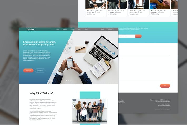 Thumbnail for Cerema CRM Website Adobe XD Template
