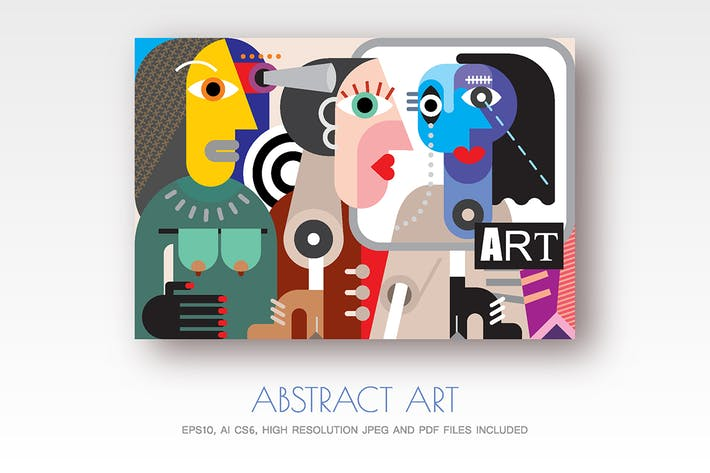 Thumbnail for Abstract art vector illustration, Talking People