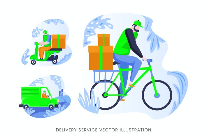 Thumbnail for Delivery Services Vector Character Set