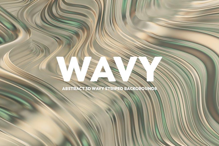 Abstrakte 3D gewellte gestreifte Hintergründe - Gold & Grün