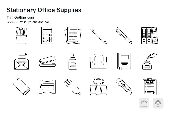 Stationery office supplies thin outline icons