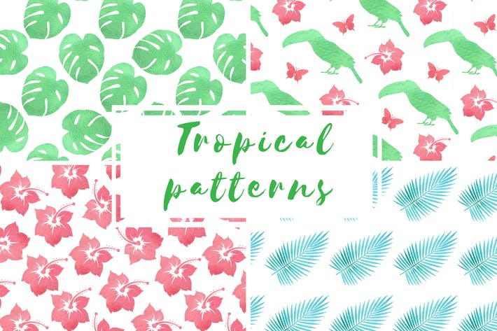 Thumbnail for Tropical Watercolor Patterns