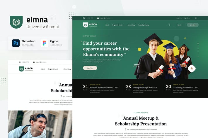 Thumbnail for Elmna - University Alumni Website Design UI