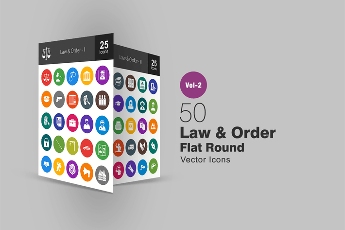 Thumbnail for 50 Law & Order Flat Round Icons