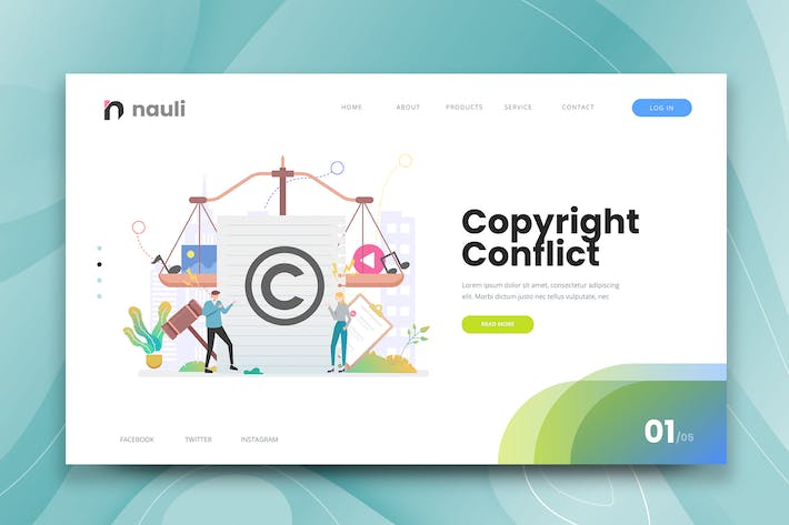 Thumbnail for Copyright Conflict Web PSD and AI Vector Template