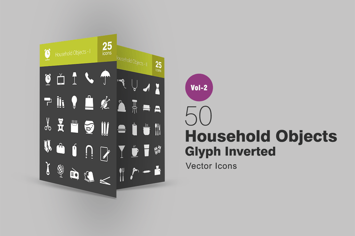 50 Household Objects Glyph Inverted Icons