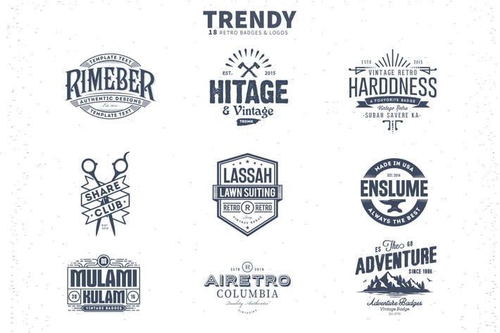 Thumbnail for 18 Trendy Retro Badges and Logos