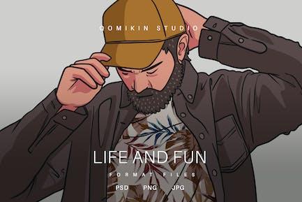 Leben und lustige Illustration