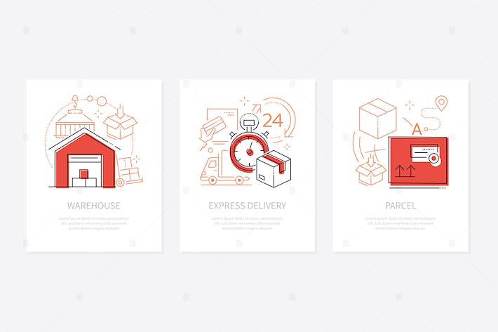 Thumbnail for Logistics concept - line design style banners set