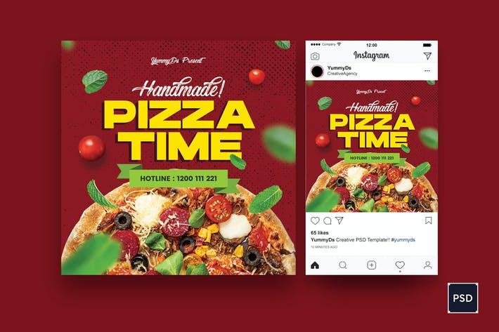 Thumbnail for Pizza Time Square Flyer & Instagram Post