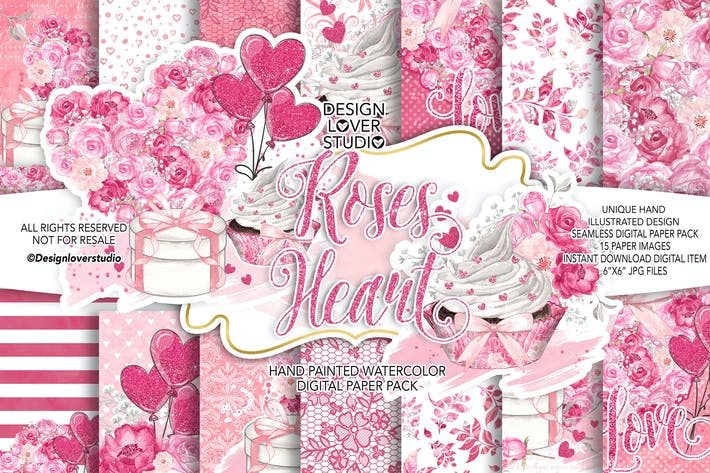 Roses Heart Valentine day digital paper pack