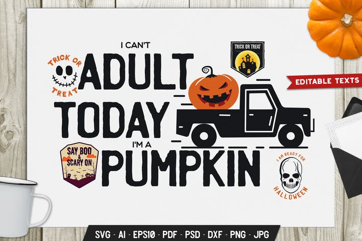 Thumbnail for Pumpkin Halloween Logo Vintage Vector Badge Emblem