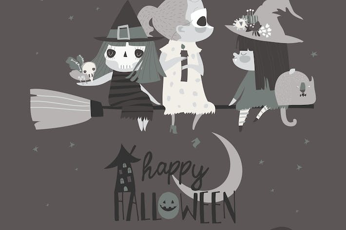 Thumbnail for Cute Halloween witches flying on broom in the nigh