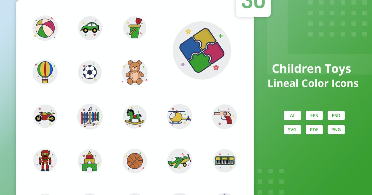 Download Children Toys - Lineal Color Icons by Graphiqa
