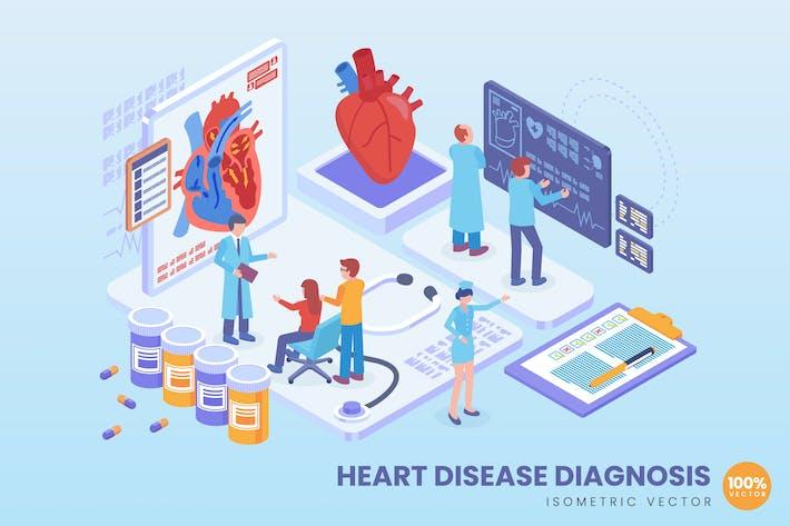 Isometrische Herzkrankheitsdiagnose Konzept