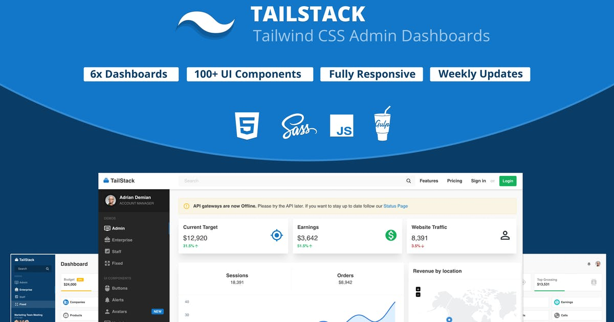 Download TailStack - Tailwind CSS Admin Dashboards Template by Frontted