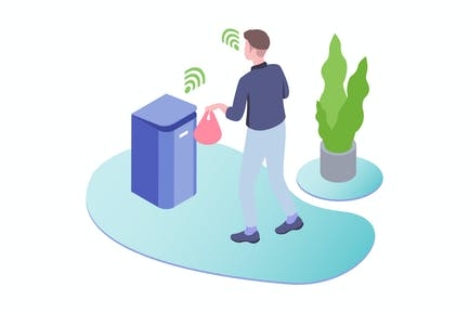 Smart Trash Voice Control Isometric Illustration