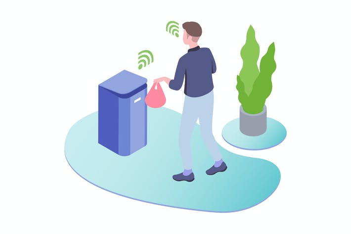 Thumbnail for Smart Trash Voice Control Isometric Illustration
