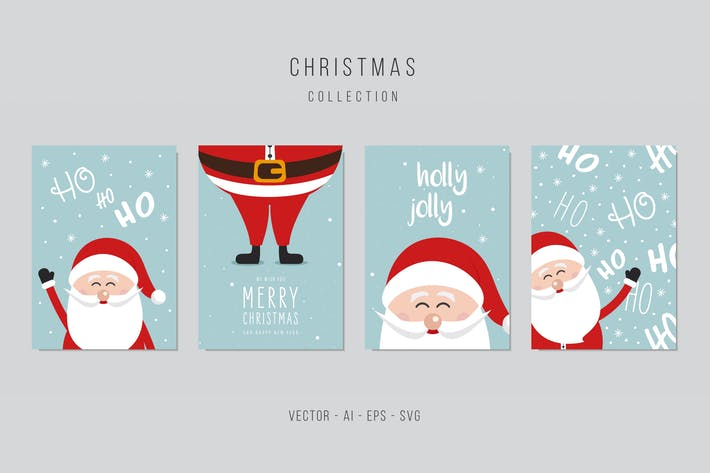 Thumbnail for Christmas Santa Claus Vector Card Set vol.7