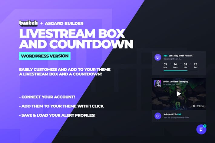 Twitch LiveStream Box and Countdown Plugin