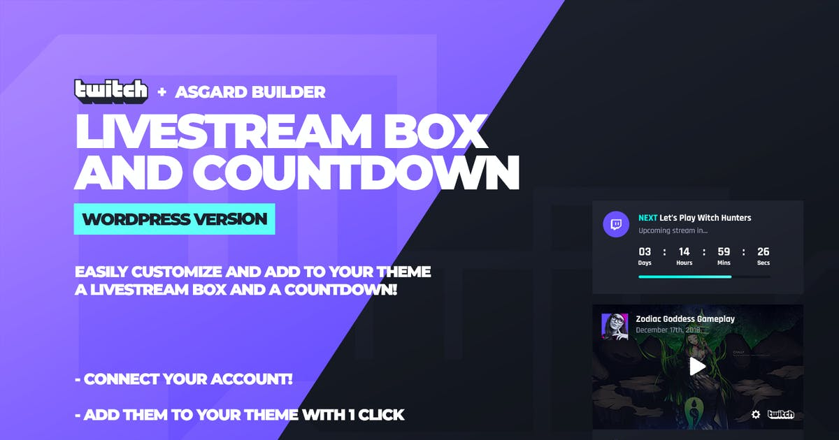 Download Twitch LiveStream Box and Countdown Plugin by Odin_Design