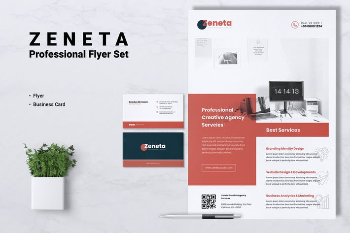 Thumbnail for ZENETA Creative Agency Flyer & Business Card