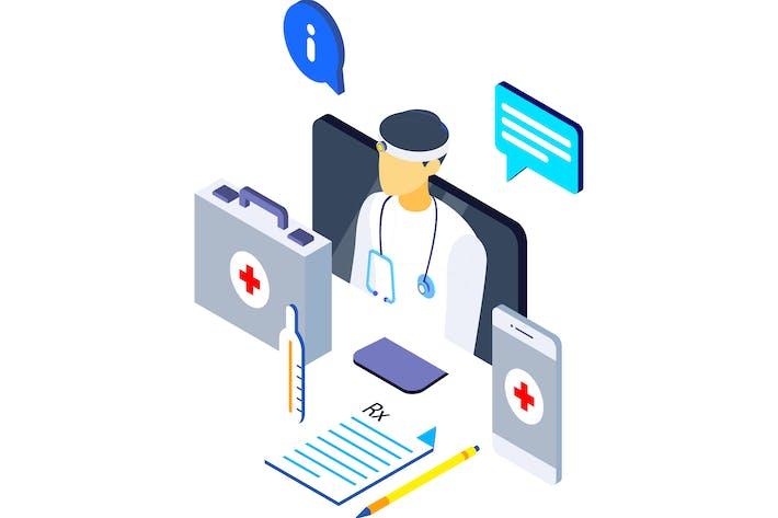 Thumbnail for Online-Behandlung Isometrische Illustration