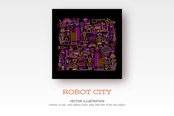 Cover Image For Robot City neon colors vector illustration