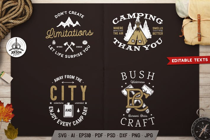 Thumbnail for Camping Adventure Logos Set, Retro Badges, T-shirt