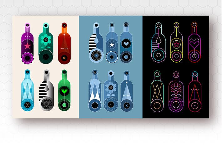 Thumbnail for 3+3 options of Wine Bottles Vector Design