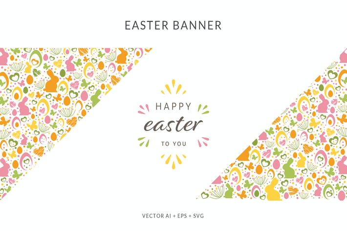 Thumbnail for Easter Banner with different Easter Elements