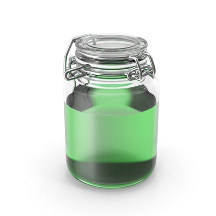 Tarro de vidrio con líquido verde