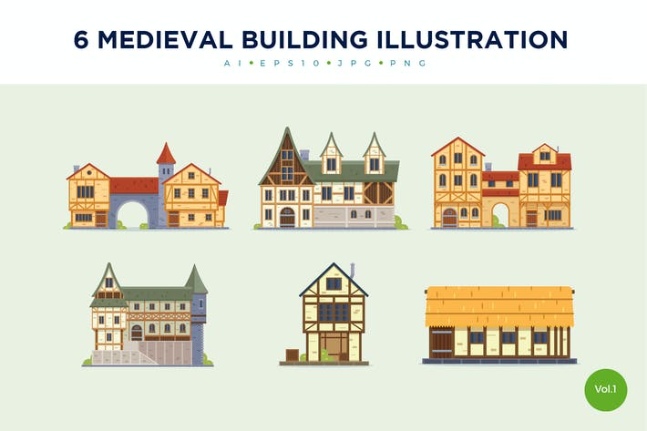 Thumbnail for 6 Vintage Medieval House Vector Illustration Set 1