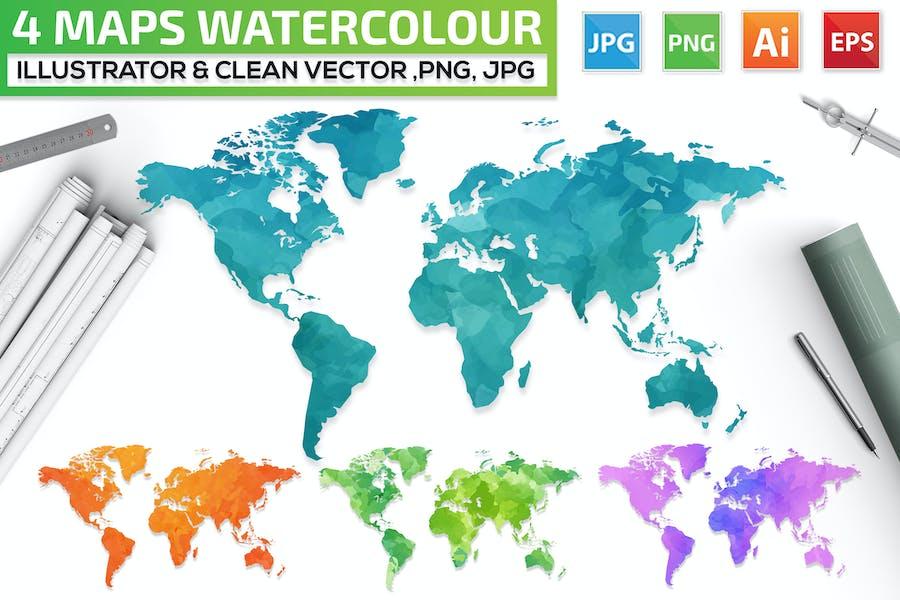 4 Maps Watercolour Design