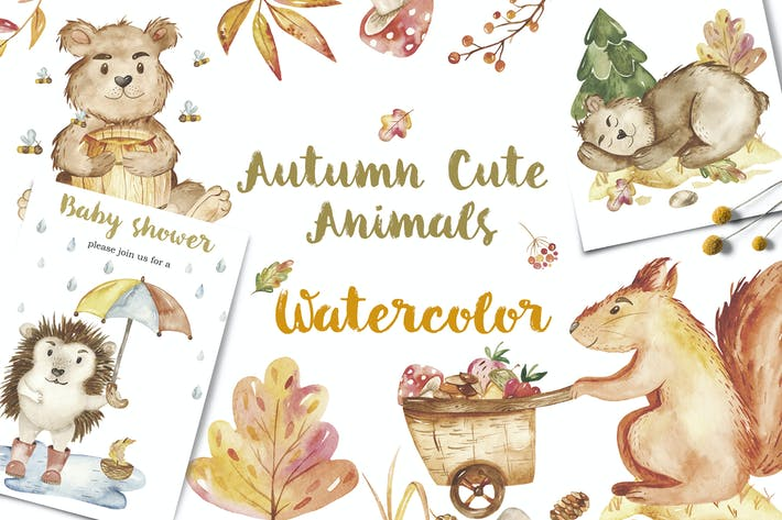 Thumbnail for Watercolor Autumn cute animals